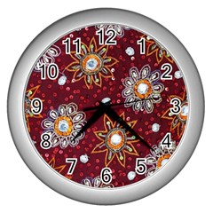 India Traditional Fabric Wall Clocks (silver)  by BangZart