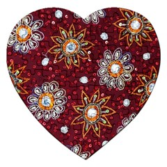 India Traditional Fabric Jigsaw Puzzle (heart) by BangZart