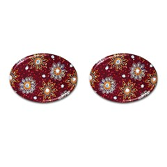 India Traditional Fabric Cufflinks (oval) by BangZart