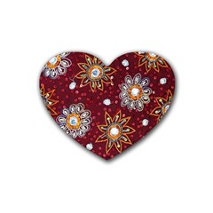 India Traditional Fabric Heart Coaster (4 Pack)
