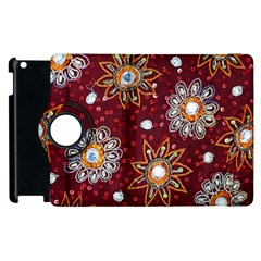 India Traditional Fabric Apple Ipad 3/4 Flip 360 Case