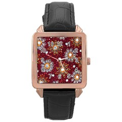 India Traditional Fabric Rose Gold Leather Watch