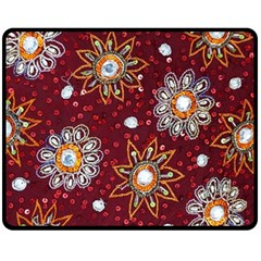 India Traditional Fabric Double Sided Fleece Blanket (medium)  by BangZart