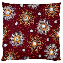 India Traditional Fabric Large Flano Cushion Case (two Sides) by BangZart
