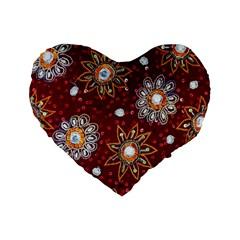 India Traditional Fabric Standard 16  Premium Flano Heart Shape Cushions by BangZart