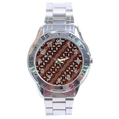 Art Traditional Batik Pattern Stainless Steel Analogue Watch