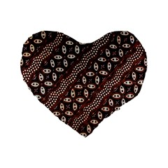 Art Traditional Batik Pattern Standard 16  Premium Heart Shape Cushions by BangZart