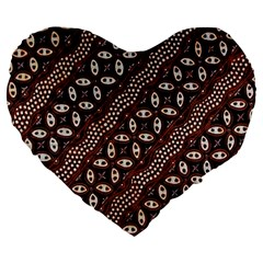 Art Traditional Batik Pattern Large 19  Premium Flano Heart Shape Cushions
