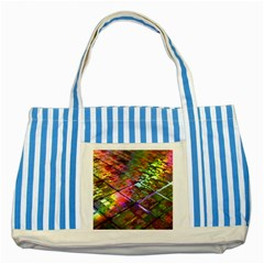 Technology Circuit Computer Striped Blue Tote Bag by BangZart