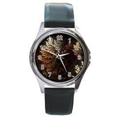 Fractalius Abstract Forests Fractal Fractals Round Metal Watch