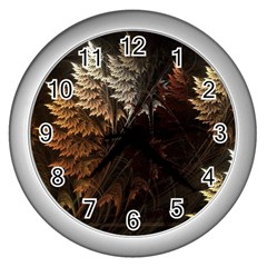 Fractalius Abstract Forests Fractal Fractals Wall Clocks (silver)