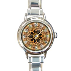 Mixed Chaos Flower Colorful Fractal Round Italian Charm Watch by BangZart
