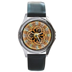 Mixed Chaos Flower Colorful Fractal Round Metal Watch