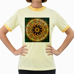 Mixed Chaos Flower Colorful Fractal Women s Fitted Ringer T Shirts