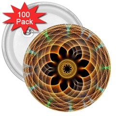 Mixed Chaos Flower Colorful Fractal 3  Buttons (100 Pack)