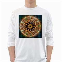 Mixed Chaos Flower Colorful Fractal White Long Sleeve T Shirts by BangZart