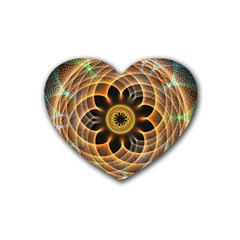 Mixed Chaos Flower Colorful Fractal Rubber Coaster (heart)