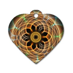 Mixed Chaos Flower Colorful Fractal Dog Tag Heart (two Sides)