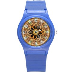Mixed Chaos Flower Colorful Fractal Round Plastic Sport Watch (s)