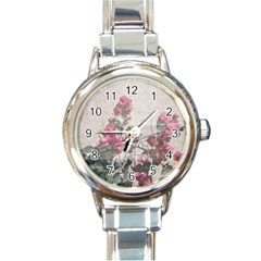Shabby Chic Style Floral Photo Round Italian Charm Watch by dflcprints