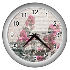 Shabby Chic Style Floral Photo Wall Clocks (silver)  by dflcprints
