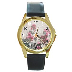 Shabby Chic Style Floral Photo Round Gold Metal Watch by dflcprints
