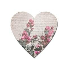 Shabby Chic Style Floral Photo Heart Magnet by dflcprints