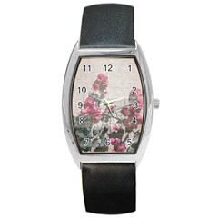 Shabby Chic Style Floral Photo Barrel Style Metal Watch by dflcprints