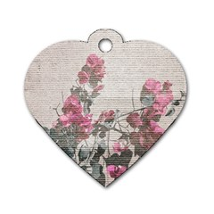 Shabby Chic Style Floral Photo Dog Tag Heart (two Sides) by dflcprints