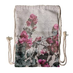 Shabby Chic Style Floral Photo Drawstring Bag (large) by dflcprints