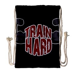 Train Hard Drawstring Bag (large) by Valentinaart