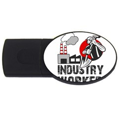 Industry Worker  Usb Flash Drive Oval (4 Gb) by Valentinaart