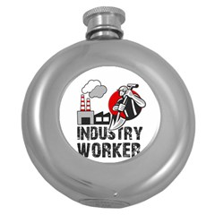 Industry Worker  Round Hip Flask (5 Oz) by Valentinaart