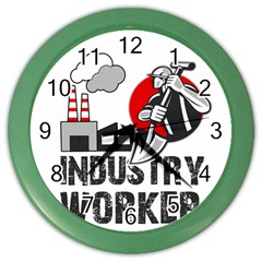 Industry Worker  Color Wall Clocks by Valentinaart
