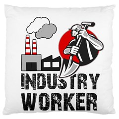 Industry Worker  Large Cushion Case (two Sides) by Valentinaart