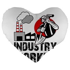 Industry Worker  Large 19  Premium Heart Shape Cushions by Valentinaart