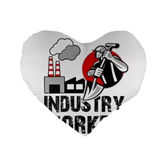 Industry Worker  Standard 16  Premium Flano Heart Shape Cushions by Valentinaart