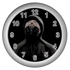 Gangsta Pug Wall Clocks (silver)  by Valentinaart