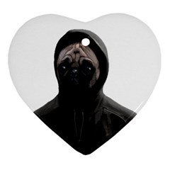 Gangsta Pug Heart Ornament (two Sides) by Valentinaart