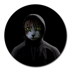 Gangsta Cat Round Mousepads by Valentinaart