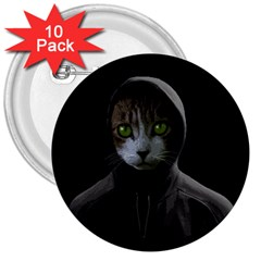 Gangsta Cat 3  Buttons (10 Pack)  by Valentinaart