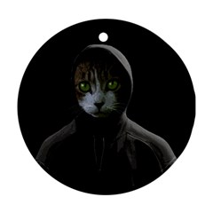 Gangsta Cat Round Ornament (two Sides) by Valentinaart