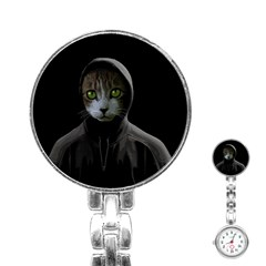 Gangsta Cat Stainless Steel Nurses Watch by Valentinaart
