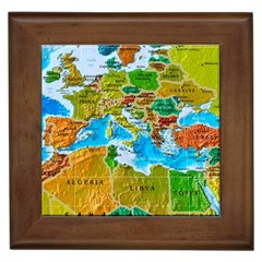 World Map Framed Tiles by BangZart