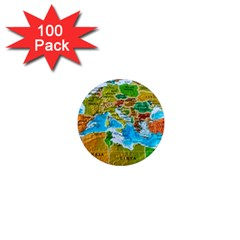 World Map 1  Mini Magnets (100 Pack)