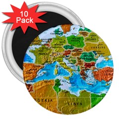 World Map 3  Magnets (10 Pack)