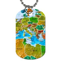 World Map Dog Tag (one Side)