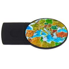 World Map Usb Flash Drive Oval (2 Gb)