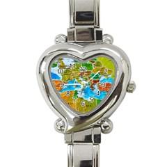 World Map Heart Italian Charm Watch