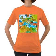 World Map Women s Dark T Shirt by BangZart